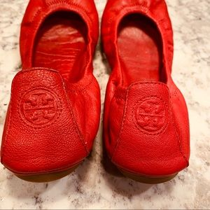 Tory Burch Red Eddie Flats Size 7.5